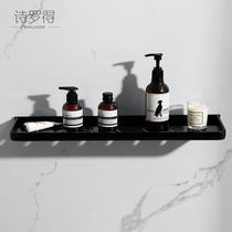 Bathroom mirror front shelf black bathroom wash storage table toilet toilet cosmetic shelf free punch