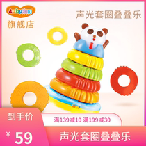 Aussie panda stacking Circle baby Stacked music children puzzle Set Circle Rainbow Circle Toy Baby Set Trap stack