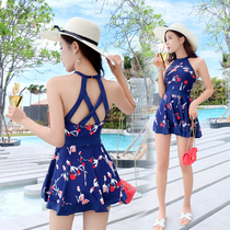 Swimsuit woman shade Skinny conservative flat angle jumpsuit sexy small chest gather open back hot South Korean swimsuit