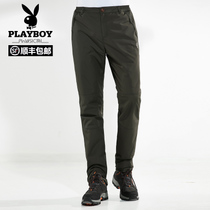 Playboy 2018 Winter New outdoor mens rushing pants with velvet warm windproof waterproof breathable casual pants
