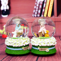 Raccoon girl Crystal Ball zakka grocery girl water ball rotating with lights music box Music Box student Gift