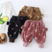Baby plus velvet pants mens baby pants autumn and winter childrens pants plus thick pp pants girl wick velvet pants