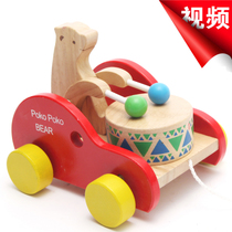 Export Japan original single bear knock drum drag car pull cart toys toy car baby toddler toys