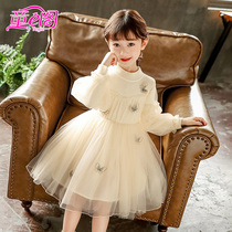 Girls sweater mesh skirt fairy fan children autumn and winter butterfly sweater stitching skirt in the Big child sweater skirt