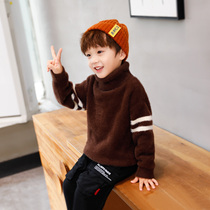 Left West Boy high-necked sweater winter 2019 New children thickened sweater imitation Mink cashmere in the big boy foreign gas