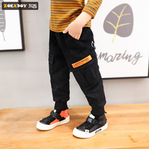 Left West boy overalls autumn and winter 2019 New children plus velvet pants casual thickening large childrens Korean version