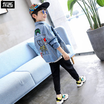 Left West childrens clothing boy denim jacket 2019 New childrens jacket Big Boy Boy spring and autumn Korean version of the tide
