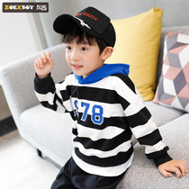 Left West boy hooded sweater autumn 2019 New children long-sleeved stripes in the Big childrens spring and autumn Korean version of the tide