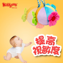Baby hand grip ball vision early education baby toys 0-3-6 months plush bells perception soft ball six color puzzle