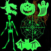 Lin Fang 70g Halloween Decorative prop Haunted house scene layout pumpkin ghost Witch nightlight sticker spider web