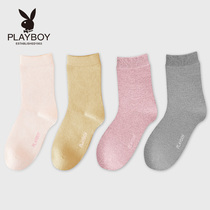 W Playboy socks female spring Department cute socks college wind solid color casual tube wool socks female tide