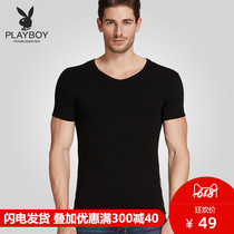 Playboy T-shirt male short-sleeved summer youth cotton round V-neck vest mens undershirt old shirt