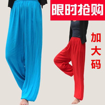 Male ladies square Dance Taiji pants sports loose summer morning exercise lantern pants Dance pants drama large Code cotton Silk
