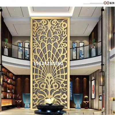 Bronze stainless steel screen partition wall light luxury living room yellow aluminum carved hollow grille iron into the door.