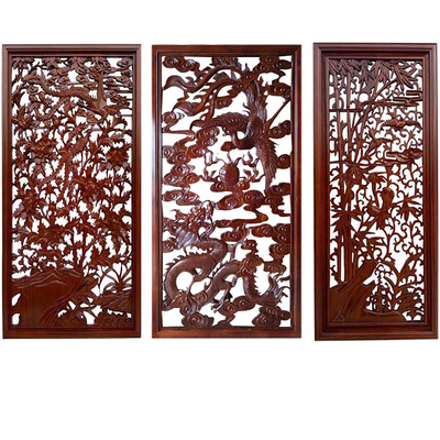 The partition hollow living room background wall decoration Chinese partition screen shape through the flower board hollow carved wood carving grid.