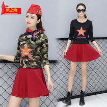 Europe and the United States battlefield army camouflage suit female sailor dance dress two-piece long-sleeved T-shirt camouflage black green skirt
