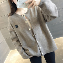 2019 spring new Korean version of the loose round neck embroidery students knit cardigan blouse Wild sweater coat tide