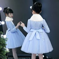 Princess dress girls New childrens wear dress autumn and winter plus cashmere dress autumn girl fluffy yarn skirt