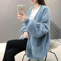 Mink cashmere cardigan jacket women 2019 autumn new Korean version of the long paragraph lazy wind sweater loose sweater thick