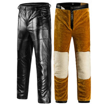Thickened double leather pants male velvet men middle-aged big code loose middle-aged winter straight motorcycle locomotive Pu Leather