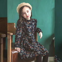 Girls Western style skirt 2019 new Korean children's dress autumn and winter girl clothes plus velvet thick a word skirt