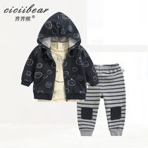 Qi Qi bear spring 2019 New men and women cartoon printing three-piece baby baby hooded out of suit