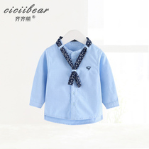 Qi Bear Baby Baby 1-3 year old print tie long sleeve vertical collar shirt 2019 spring male and female baby shirt