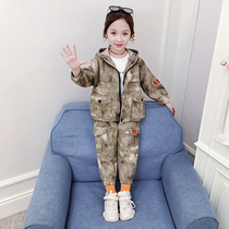 Girls autumn Set 2019 new foreign cardigan large children's army camouflage clothing spring and autumn two-piece suit