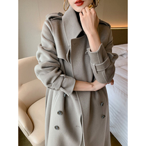 Elephant gray cashmere double-sided womens coat 2019 Winter new long paragraph wool temperament lace popular coat