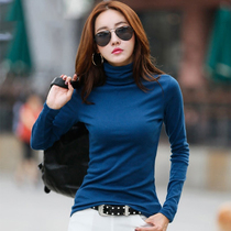 High collar bottoming shirt female plus cashmere 2019 spring shirt female Korean version of the new womens long-sleeved T-shirt female clothes