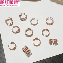 Pink Lady Europe and the United States temperament diamond cold wind opening ring knotting ring fashion index finger ring female tide
