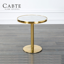 Kabut Nordic round negotiation table stainless steel marble edge Several table metal modern simple small coffee table