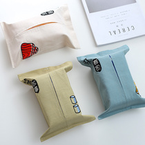 Creative Japanese cotton linen art car ins tissue bag bag cute home pumping paper box living room tissue box