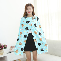 Multi-functional air conditioning blanket thickened flannel shawl female office nap nap blanket coral velvet lazy blanket cloak