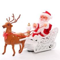 Burst New Years Christmas gift deer pull car music Santa Claus childrens toy gift holiday decorations.