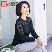 Middle-aged mom with lace bottom shirt 2019 Spring dress new top middle-aged womens long-sleeved T-shirt WD8030