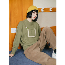 omont Egg Tart home retro loose pocket black sweater womens long-sleeved high-necked knit primer shirt winter