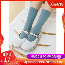 omont Egg Tart home retro college wind simple casual tube socks female students black pile pile socks summer New