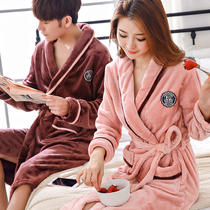 Couple nightgown pajamas winter thick flannel bathrobe spring and autumn large size mens coral fleece hot spring bathrobe