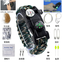 Wolf 2 Wu Jing with the umbrella rope bracelet wilderness survival kit bracelet with LED lights Compass outdoor equipment