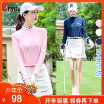 Spring New Golf Costume lady long-sleeved ball T-shirt Korean version vertical collar sports clothes set
