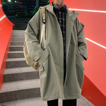 Windbreaker men in the long section of autumn and winter Korean version of the trend of thickening Hong Kong wind ins loose wind British coat coat