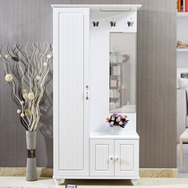 Modern minimalist white Hall cabinet shoe cabinet coat cabinet mirror combination living room multi-functional partition entrance one