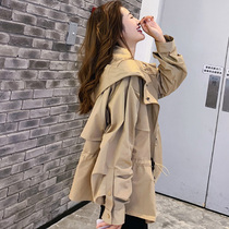 Fashion fat mm waist was thin early autumn coat female 2019 new Korean version of the loose large size short paragraph female windbreaker