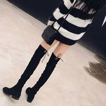 Knee Boots female Boots 2018 autumn Winter season new thin flat bottom pepper mesh red velvet high-barrel boots female