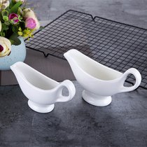Pure white bone china ceramic steak plate sauce pot tableware Western plate matching porcelain steak sauce bucket