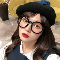 gm oversized black-rimmed glasses female ins net red Suyan decorative mirror Korean Retro Round myopia coarse frame glasses frame