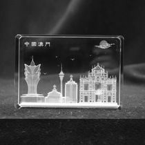 New Macau landmark Crystal Cube 3D interior carving decorative model ornaments feature tourist commemorative crafts.