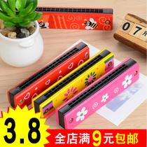Wooden harmonica color 16 hole children play music baby toys 1-3-5-7 years old baby organ instruments.