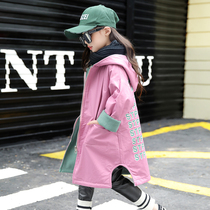 Girls coat autumn and winter 2019 new in the Big children spring and autumn girls wear both sides of the coat childrens foreign air long paragraph